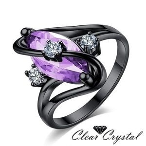 Purple Oval CZ Ring Sz 7